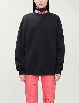 Acne Studios Forba face-applique round-neck cotton-jersey jumper