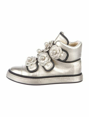 Chanel Interlocking CC Logo Leather Wedge Sneakers Gold