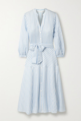 Veronica Beard Jenna Belted Striped Linen, Silk, And Modal-blend Midi Shirt Dress - Light blue