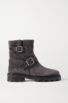 Jimmy Choo Youth Ii Buckled Suede Ankle Boots - Gray