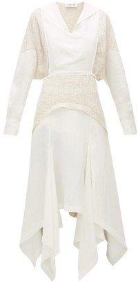 Lanvin Bib-front Panelled Midi Dress - Womens - White