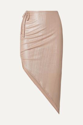 Adriana Degreas Martini Asymmetric Ruched Ribbed Lame Skirt - Metallic