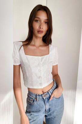 Nasty Gal Womens Puff Sleeve Crop Blouse - White - 14, White