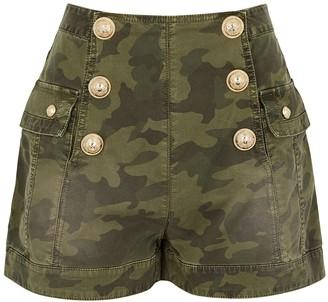Balmain Camouflage-print denim shorts