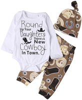 Lily.Pie Newborn Baby Boys Funny Bodysuits with Leggings Caps 3pcs Outfit Clothes (6-12M, )