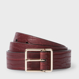 Paul Smith Men's Damson Heavy Grained Calf Leather Integrated Keeper Belt