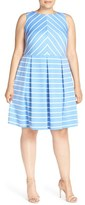 London Times Plus Size Women's 'Deauville' Stripe Knit Pleat Fit & Flare Dress