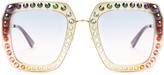 Gucci Oversized embellished square-frame sunglasses