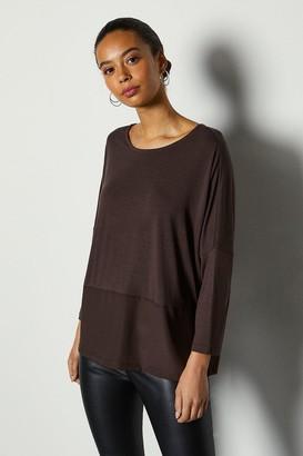 Karen Millen 3/4 Sleeve Jersey Woven Mix Top