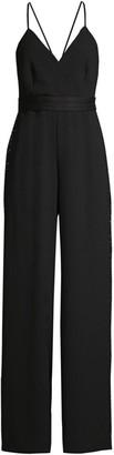 BCBGMAXAZRIA Rhinestone Side-Stripe Crepe Jumpsuit