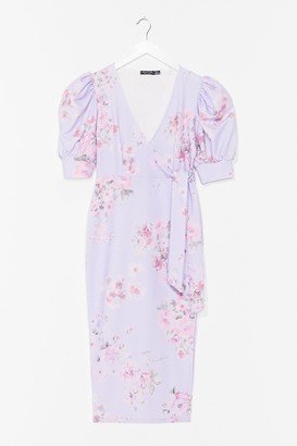 Nasty Gal Womens Spring into Action Floral Midi Dress - Purple - 4, Purple