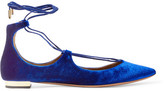 Aquazzura Christy Velvet Point-toe Flats - Bright blue