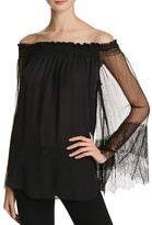Kobi Halperin Veruka Lace Sleeve Off-the-Shoulder Silk Blouse