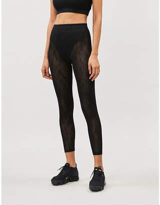 Adam Selman Floral-pattern stretch-mesh leggings
