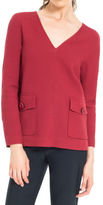 Max Studio by Leon Max Cloque Check Textured V-neck Pullover