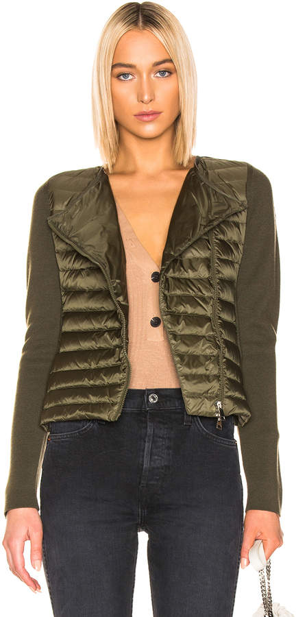 Moncler Asymmetric Zip Cardigan in Military Green   FWRD