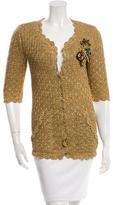 Oscar de la Renta Silk Embellished Cardigan