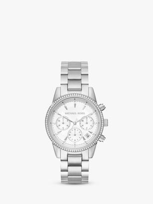 Michael Kors Women's Ritz Crystal Date Chronograph Bracelet Strap Watch