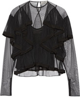 Preen by Thornton Bregazzi Elvina Ruffled Tulle Blouse - Black