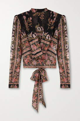 Etro Draped Floral-print Silk-crepon Blouse - Black