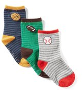 Starting Out Baby Boys 3-Pack Striped/Sports Socks