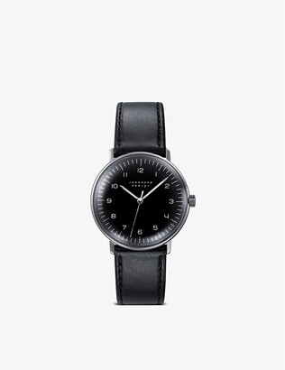Junghans 027/3702.00 Max Bill stainless steel and leather watch, Women's, Black