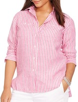 Lauren Ralph Lauren Plus Linen Stripe Shirt