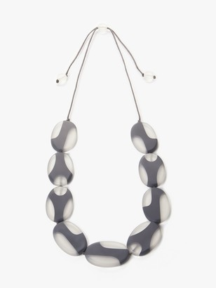 One Button Resin Ellipse Long Necklace, Grey/White