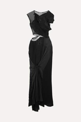 Preen by Thornton Bregazzi Ivanna One-shoulder Tulle, Devore-satin, Crepe And Lace Maxi Dress - Black