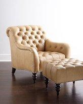 Brady Tufted Leather Chair & Ottoman