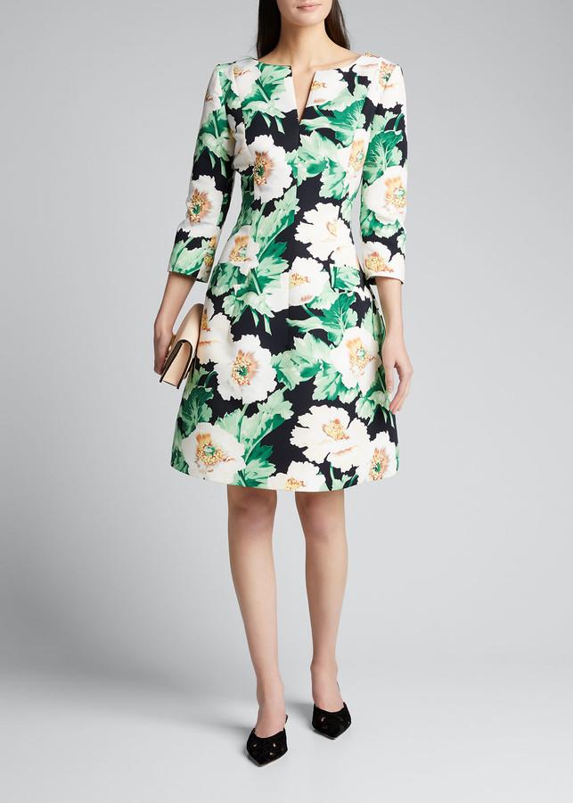 Oscar de la Renta 3/4-Sleeve Floral Dress