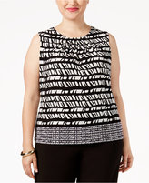 Calvin Klein Plus Size Printed Pleat-Neck Shell