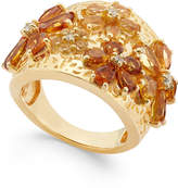 Macy's Citrine (2-1/8 ct. t.w.) and White Topaz (1 ct. t.w.) Flower Statement Ring in 14k Gold Vermeil