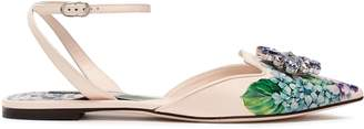 Dolce & Gabbana Crystal-embellished Floral-print Patent-leather Point-toe Flats