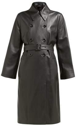 Joseph Romney Double Breasted Leather Coat - Womens - Black