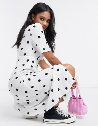 Nobody's Child button front midi dress in spot print