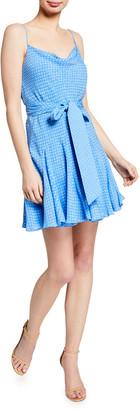 Alice + Olivia Webber Cowl-Neck Godet Dress w/ Belt