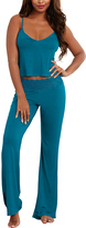Dreamgirl Teal Lace-Accent Camisole & Pajama Pants Set