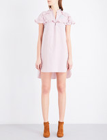 Sandro Striped ruffled cotton-poplin shirt dress