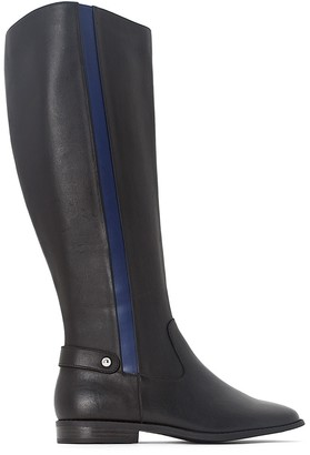 La Redoute Collections Leather Riding Boots with Band Detail