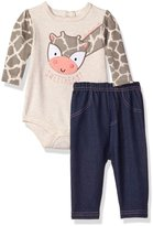 Bon Bebe Girls' 2 Piece Longsleeve Rear Snap Bodysuit and Denim Pant Set