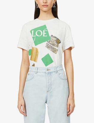 Loewe Square-print cotton-jersey T-shirt