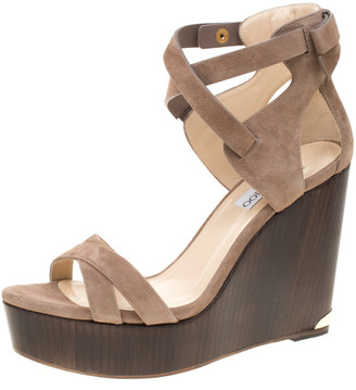 Jimmy Choo Beige Suede Naomi Cross Strap Bow Detail Wedge Sandals Size 41