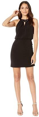 Halston Satin Neck Crepe Dress with Keyhole (Black) Women's Dress