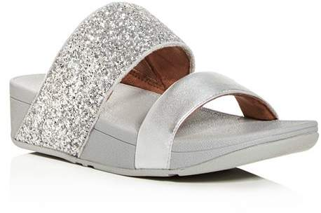 Rose Platform Slide Sandals Glitter Women's Wedge 6g7Yfby
