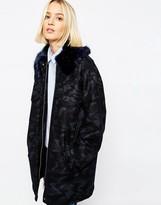 Asos Camo Coat With Faux Fur Collar