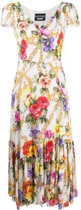 Boutique Moschino Baroque Floral Print Midi Dress