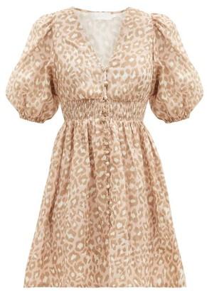 Zimmermann Carnaby Puffed-sleeve Leopard-print Linen Dress - Pink Print
