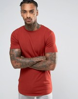 Asos Longline Muscle T-Shirt With Curved Hem In Red