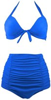 Wantdo Women's Solid Color Elegant Vintage High Waisted Bikini Swimsuit Swimwear